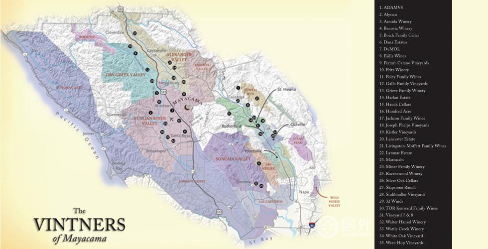 Mayacama处于全球知名的葡萄酒产地——纳帕谷-索诺玛地区,其周边35家优质酒庄已获得酒商会员身份,致力于提供最好的佳酿。